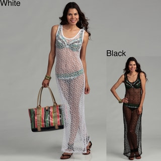 Water Water by Elan Sleeveless Sheer Net Knit Maxi Tank Swim Coverup