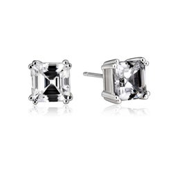 Collette Z Sterling Silver Cubic Zirconia Asscher-cut Stud Earrings