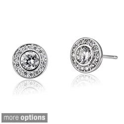 Collette Z Sterling Silver Clear Cubic Zirconia Round Halo Stud Earrings