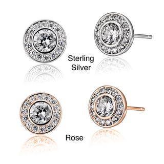 Collette Z Sterling Silver Clear Cubic Zirconia Round Stud Earrings