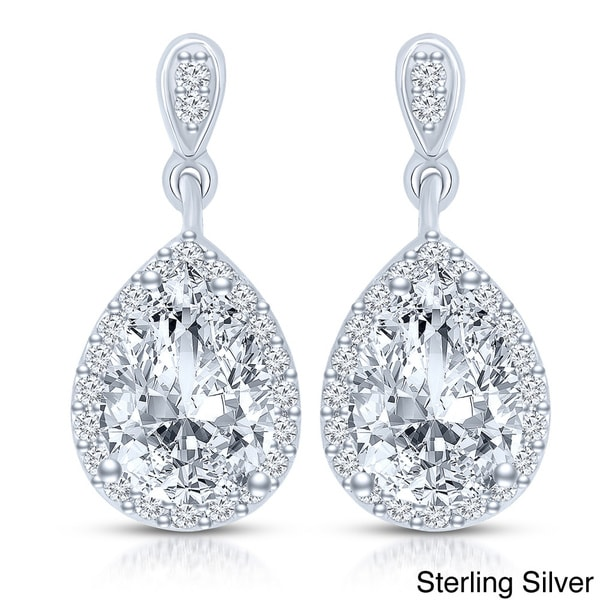 Collette Z Sterling Silver Clear Cubic Zirconia Pear Drop Earrings