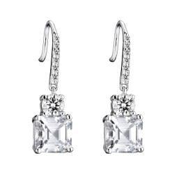 Collette Z Sterling Silver Clear Cubic Zirconia Square Drop Earrings