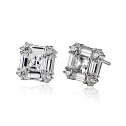 Collette Z Sterling Silver Clear Cubic Zirconia Square Stud Earrings