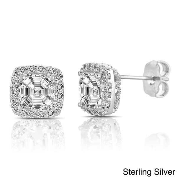 Collette Z Sterling Silver Clear Cubic Zirconia Square Halo Stud Earrings