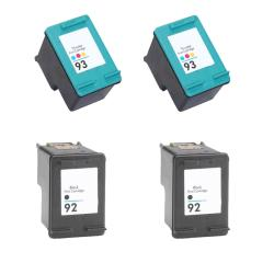 Hewlett Packard 92/93 Black and Color Ink Cartridge (Pack of 4) (Remanufactured)