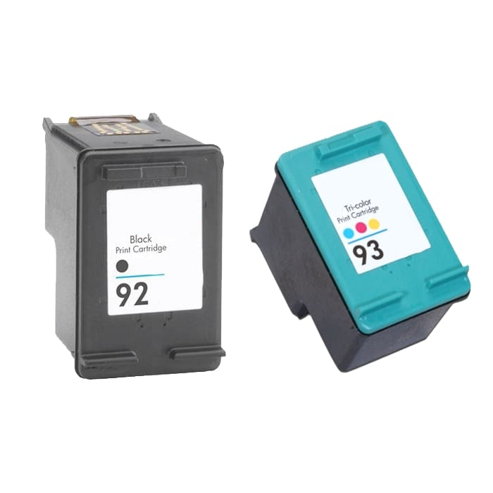 Hewlett Packard 92/93 1 Black Ink and 1 Colored Ink Cartridge (Remanufactured)
