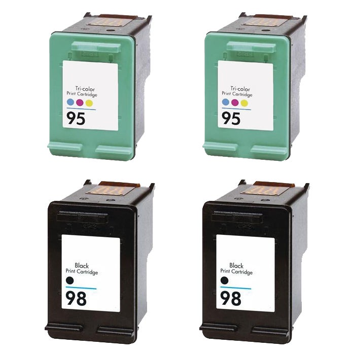 Hewlett Packard 95/98 Black/Color Ink Cartridge (Pack of 4) (Remanufactured)