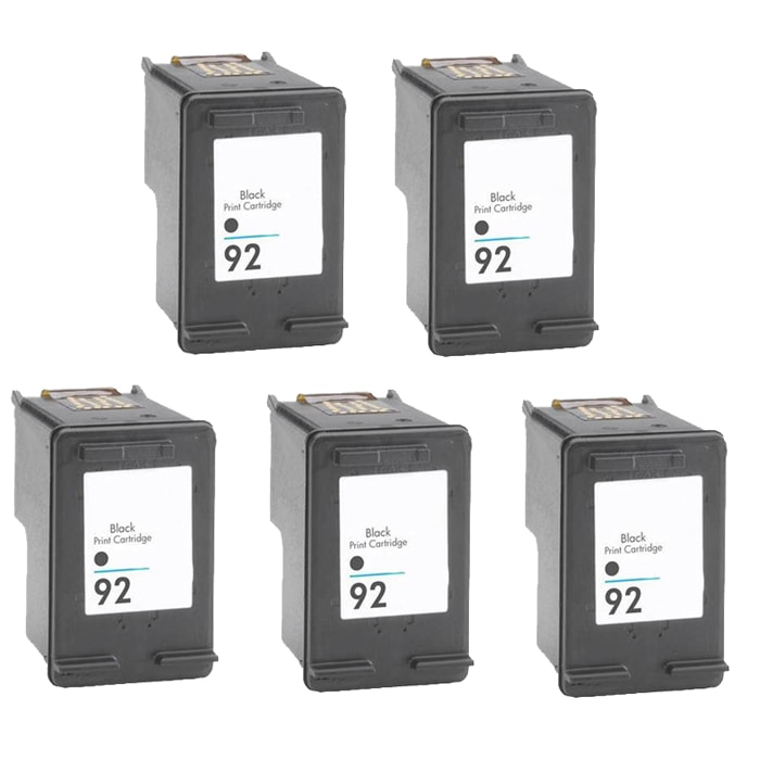 Hewlett Packard 92 Black Ink Cartridge (Pack of 5) (Remanufactured)