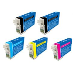 Epson T124100 T124400 T124 Black/Colored Ink Cartridges (Pack of 5) (Remanufactured)
