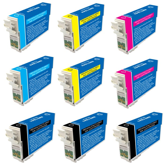 Epson T124100-T124400 T124 Black/Colored Ink Cartridges (Pack of 9) (Remanufactured)