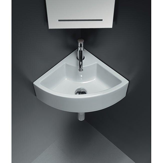 Bissonnet 'ICE' Corner Ceramic Bathroom Sink