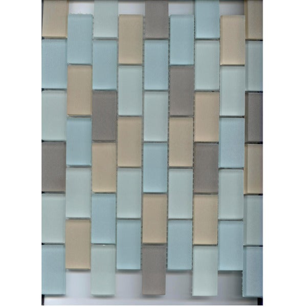 Lush Hamptons Blend 1 x 2 Frosted Glass Tile (pack of 10)