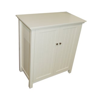 Simple Living Antique White Bathroom Floor Cabinet