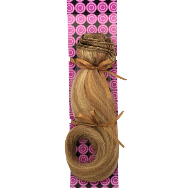Donna Bella #27/613 (Light Blonde w/ Strawberry) 16-inch Full Head Human Remy Hair Extensions