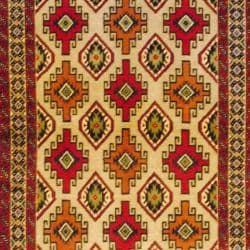 Persian Tribal Balouchi Beige/Red Wool Rug (3'4 x 6'4)