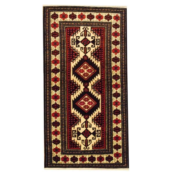 Persian Tribal Balouchi Ivory/ Bugundy Wool Rug (3'5 x 6'5)