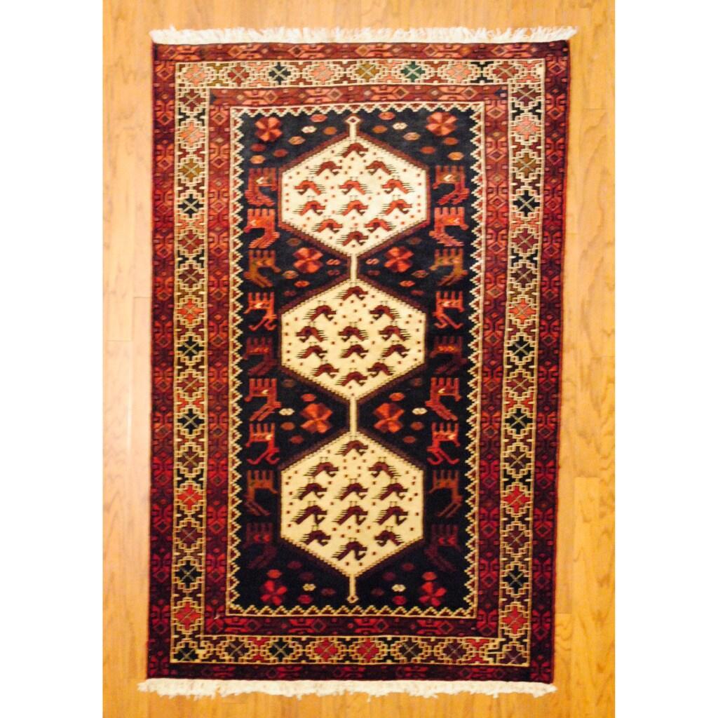 Persian Tribal Kurdish Navy/ Ivory Wool Rug (4'2 x 6'6)