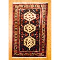 Persian Tribal Kurdish Navy/ Ivory Wool Rug (4'2 x 6'6)
