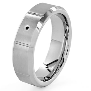 Cobalt and Tungsten Black Diamond Accent Grooved Ring