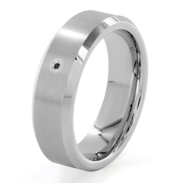 Cobalt and Tungsten Black Diamond Accent Beveled Edge Ring