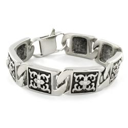 Stainless Steel Floral Cross Link Bracelet