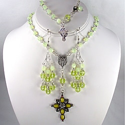 Jonquil Opal Crystal 6 mm Catholic Wedding Jewelry Set
