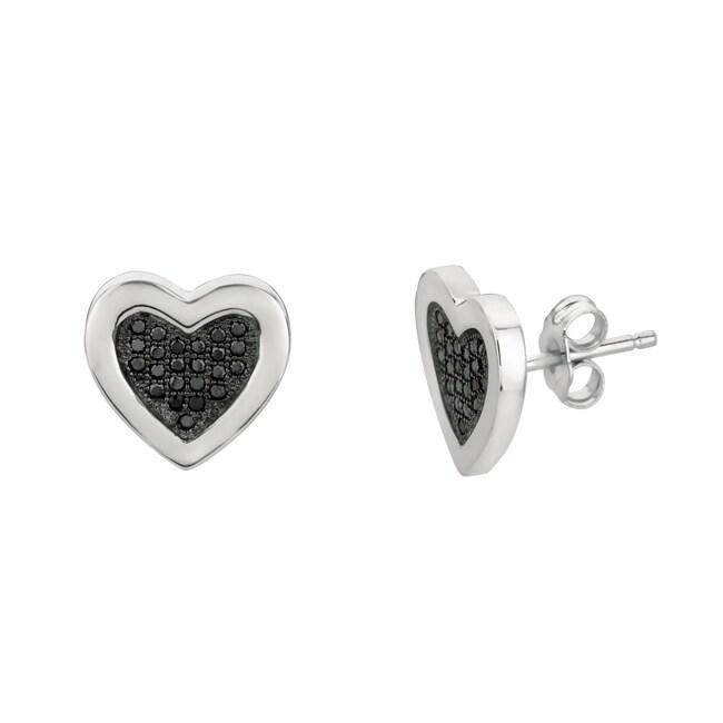 Sterling Silver Black Cubic Zirconia Heart Stud Earrings