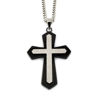 Stainless Steel Black-plated Sparkle Cross Necklace