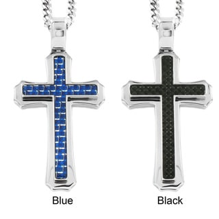 High-polish Stainless Steel Carbon-fiber Cross Pendant Necklace