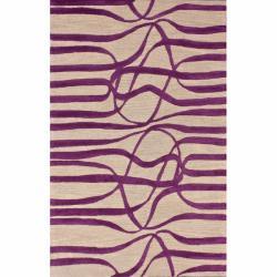 nuLOOM Handmade Curves Purple Wool/ Faux Silk Rug (5' x 8')