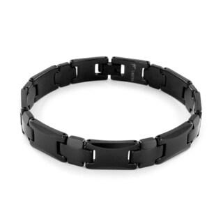 Black-plated Tungsten Beveled Edge Link Bracelet