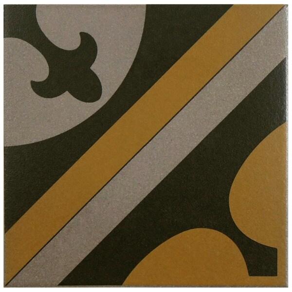SomerTile 7x7-inch Grava Quatro CLA Centro Porcelain Floor and Wall Tile