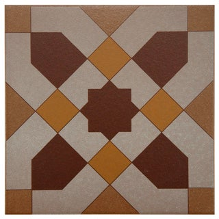 SomerTile 7x7-inch Grava Quatro Geo Centro Porcelain Floor and Wall Tile