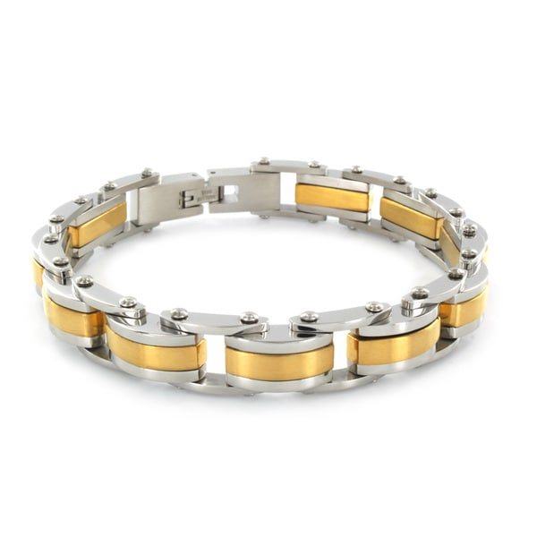 Goldtone Stainless Steel Polished Link Bracelet