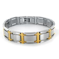 Two-tone Stainless Steel Wide Link Bracelet