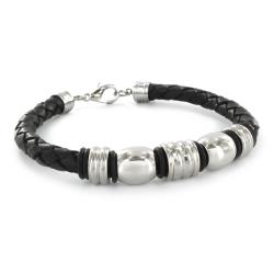 High-polish Stainless Steel and Black Leather Bangle Bracelet