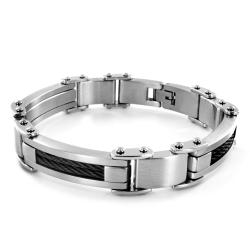 Stainless Steel Cable Inlay Bracelet