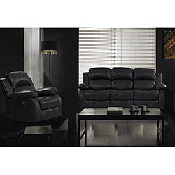 Rotunda Black Three Recliners Sofa and Chair Set
