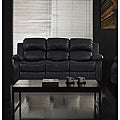 Rotunda Black Faux Leather Dual Reclining Sofa
