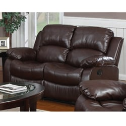 Rotunda Brown Faux Leather Dual Reclining Loveseat