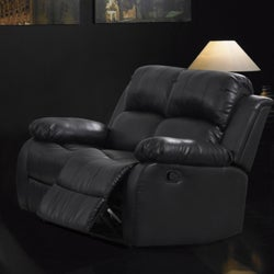 Rotunda Black Faux Leather Dual Reclining Loveseat