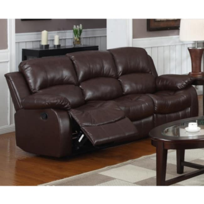 rotunda brown faux leather dual reclining sofa 14278000 overstock
