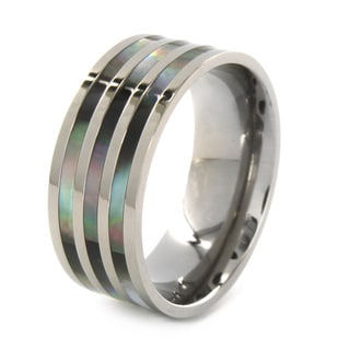 West Coast Jewelry Titanium Polished Abalone Inlay Ring