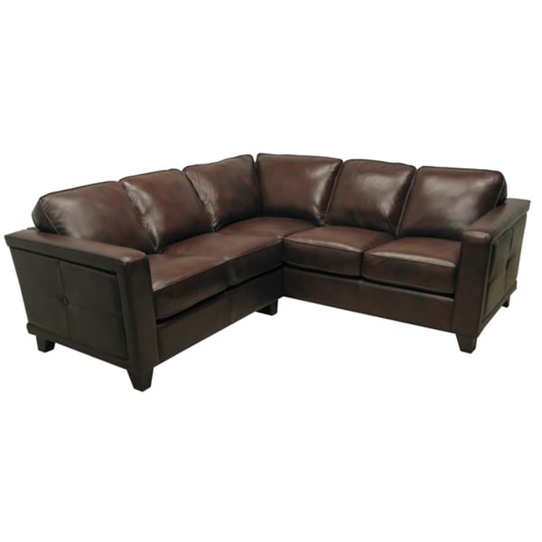 Emerson Brown Italian Leather Sectional Sofa