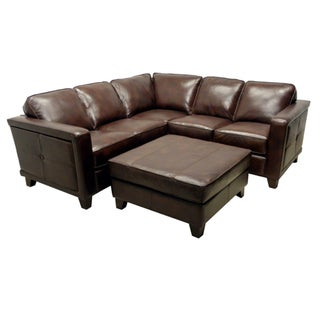 Emerson Brown Italian Leather Sectional Sofa and Ottoman