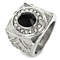 West Coast Jewelry Stainless Steel Royal Onyx and Cubic Zirconia Ring