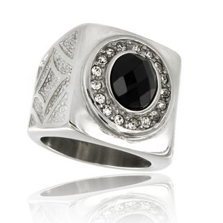 Stainless Steel Royal Onyx and Cubic Zirconia Ring