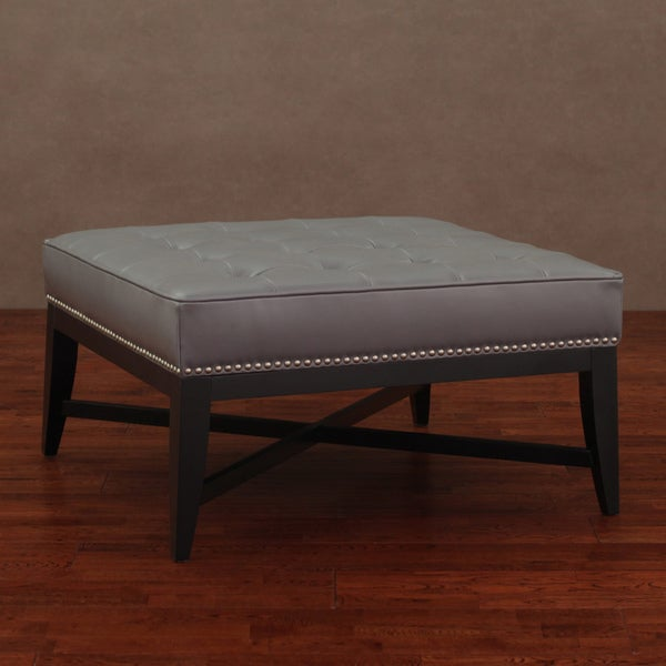 Valencia Charcoal Leather Nail Head Ottoman