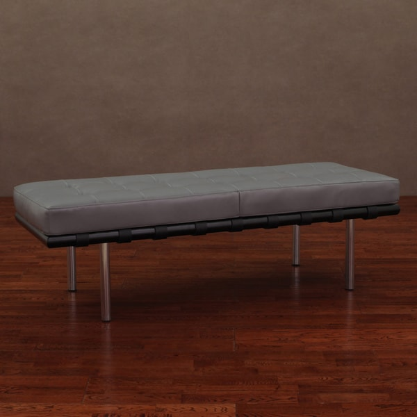 Andaluca Charcoal Leather Bench