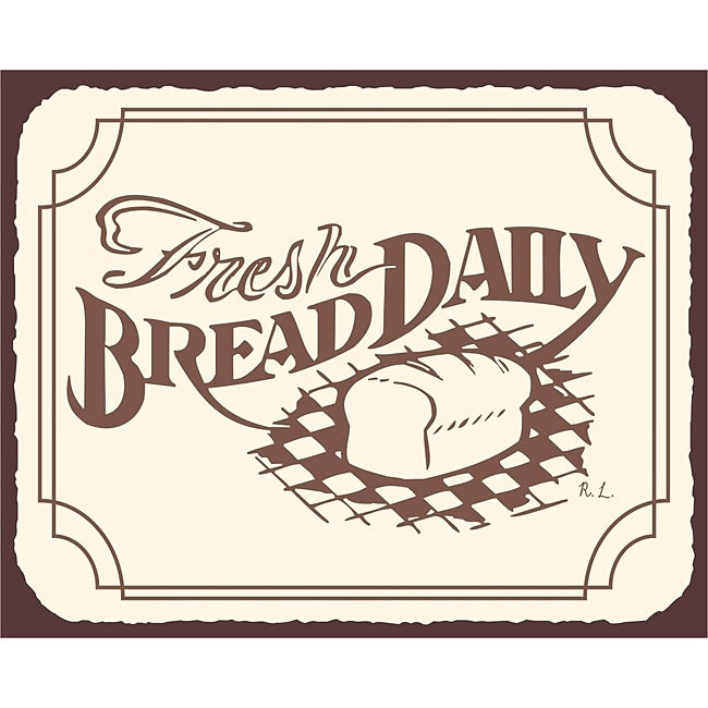 Wall Art Signs Kitchen : Fresh bread daily bakery wall decor vintage metal art